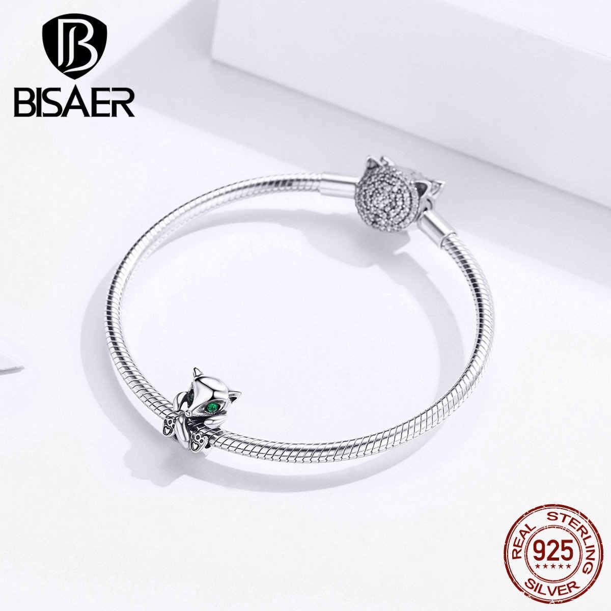 Bisaer 925 prata esterlina encantos bonito animal grânulos raposa pingente charme apto pan pulseira original para as mulheres jóias finas