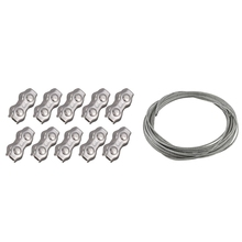 11 Pcs Stainless Steel Wire Rope Clamps+Cable: 10 Pcs 3Mm Duplex Clips Wire Cable Rope Grips Clamps Caliper & 1 Pcs Flexible Wir