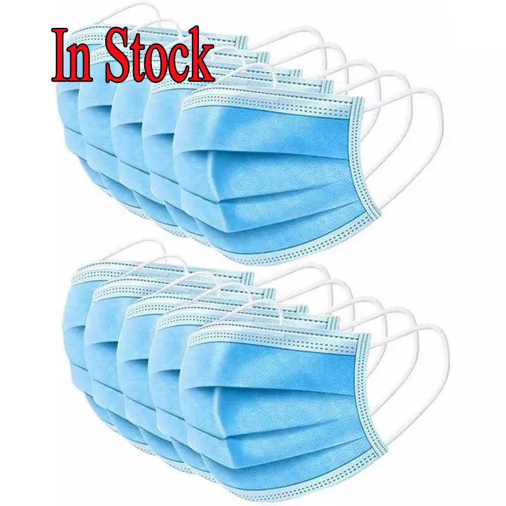 Image 3 - 10 20 50 pcs/pack Non Woven Maska Disposable Earloop Face Mask 3 Layer Non woven Meltblown Cloth Earloop Anti Dust Mouth MaskMens Masks   -