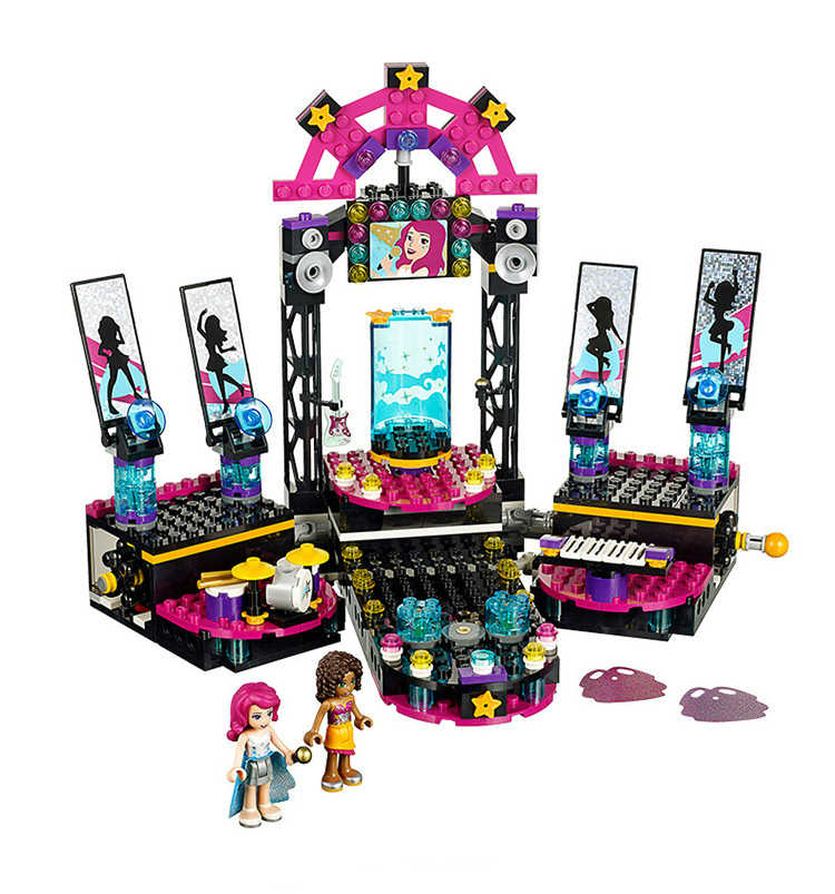 BELA Building Blocks 10406 Friends Pop Star Show Stage 41105 Model Compatible with Figure Educational Toys for Children