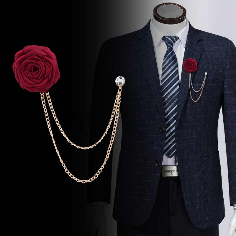 Korean Bridegroom Wedding Brooches Cloth Art Hand-made Rose Flower Brooch Lapel Pin Badge Tassel Chain Men's Suit Accessories