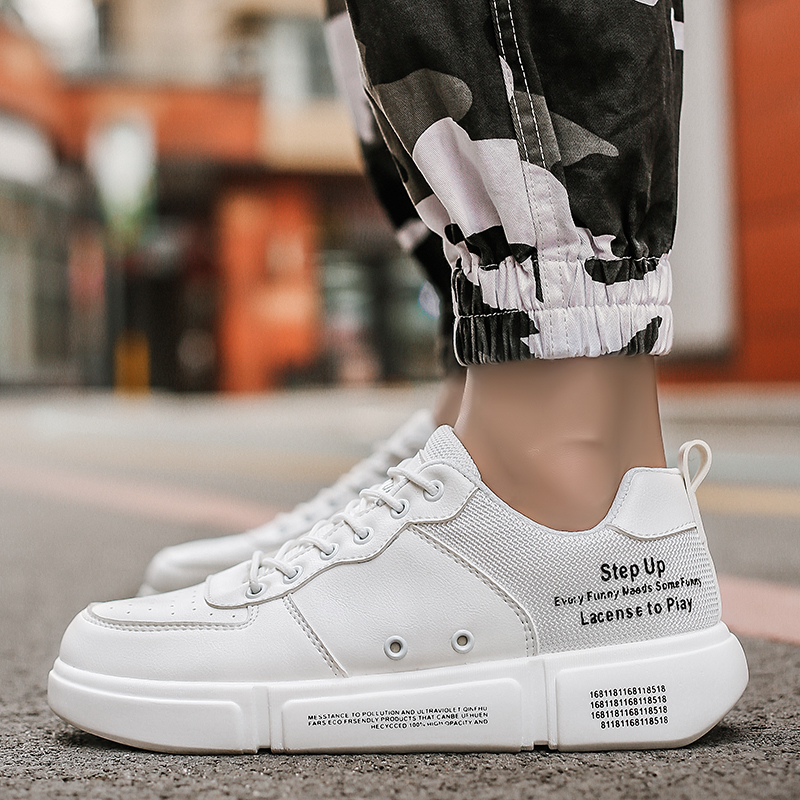 2019 Spring And Autumn Fashion New Wild Men's PU Bottom Casual Shoes White Shoes Sneakers