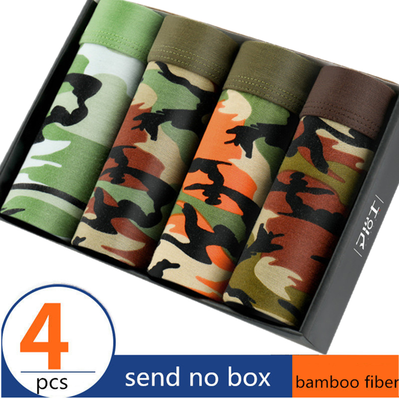 4 Pieces Camo Men's Underwear Modal Men Boxer Shorts Plus Size Boxer Tide Men Camouflage Boxer Homme Cueca Underpants