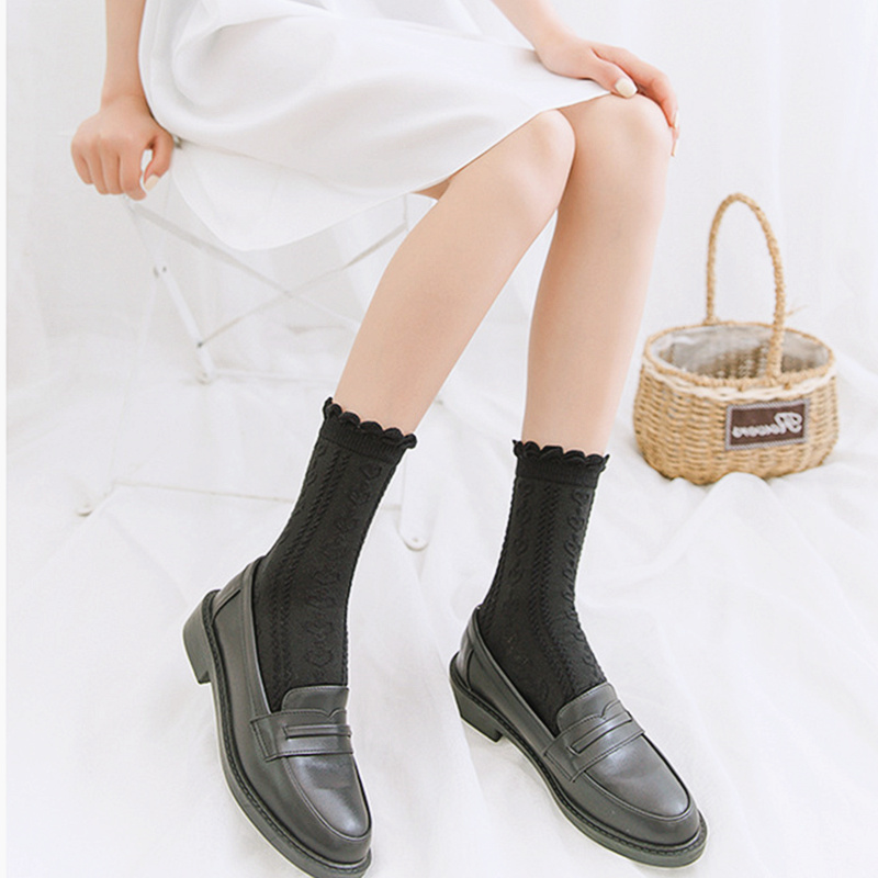 Dreamlikelin Spring Autumn Female White Japanese Lolita Bubble Lace Frilly Socks Cute Jk Uniform Socks
