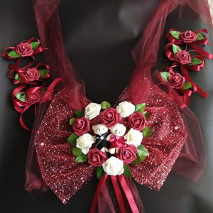 Image 5 - Simple Style PE Rose Wedding Car Decoration Flowers Heart Shaped Wreaths Color Can be Customized