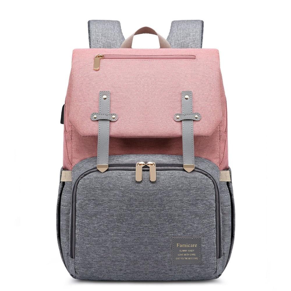 H79756bcb14904daebaf75740051a9ab4E Diaper Bag Mummy Daddy Backpack Baby Stroller Bag Waterproof Oxford Handbag Nursing Nappy Kits Maternity Bag USB Warmer Holder