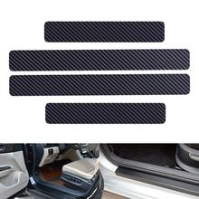 DWCX 4 pièces universel noir en Fiber de carbone Style seuil de seuil de seuil bienvenue pédale plaque éraflure anti rayures protecteur autocollant