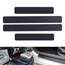 DWCX 4 sztuk uniwersalne czarne włókno węglowe styl próg drzwi próg listwa progowa płyta Scuff pokrywa odporne na zadrapania naklejka ochronna