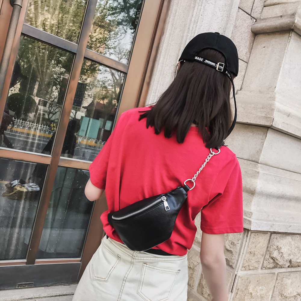 Women Fashion Chain Leather Messenger Bag Shoulder Bag Chest Bag Waist Bag Handbag Unisex Fanny Pu Pack Soild Belly Purse