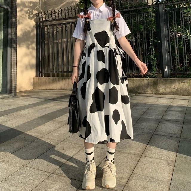 QWEEK Women's Kawaii Cow Print Dress Lolita Milk Cute Sundress Japanese Harajuku Style Cute Kawaii Lolita Dress Outfit Mori Girl 4