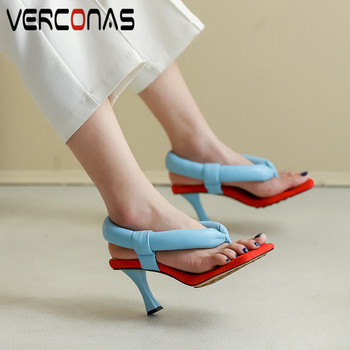 VERCONAS 2020 Sweet Woman Sandals Woman Pumps Genuine Leather Brand Design Shallow Casual Square Toe Thin High Heels Shoes Woman