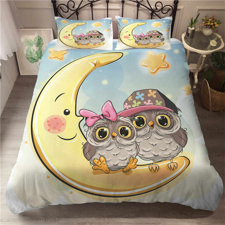 Wishstar Cartoon Eule Serie Einzigen Doppelbett Leinen Nette Kinder Bettwäsche Set Animal Print Bettbezug 200x200 Kissenbezug bett Set