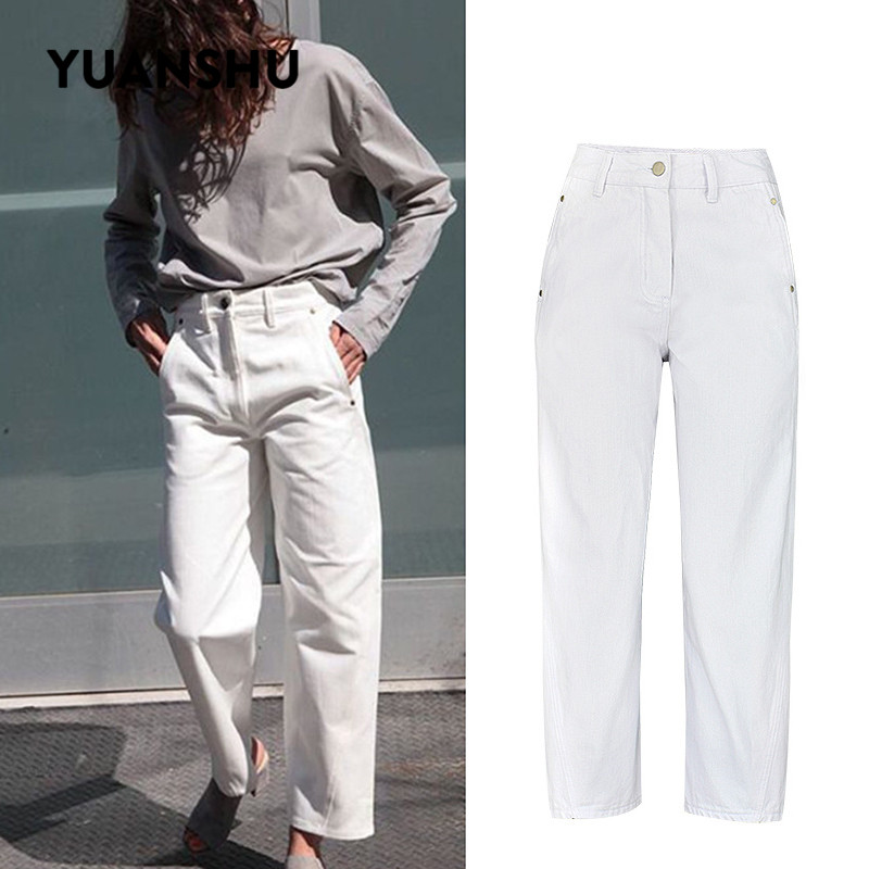 YUANSHU Cotton White Jeans For Women High Waist Mom Jeans 2019 Fashion Boyfriend Women Jeans Denim Wide Leg Pants Plus Size