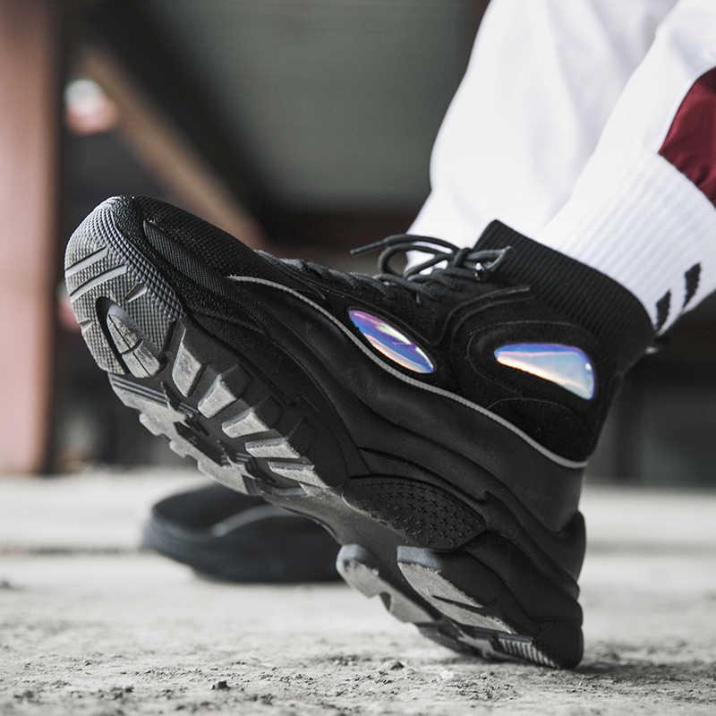 2019 חדש גבוה למעלה גברים סניקרס קרסול מגפי גרב נשים נעלי ספורט אישה יוניסקס גומי גובה הגדלת שרוכים אביב zapatos