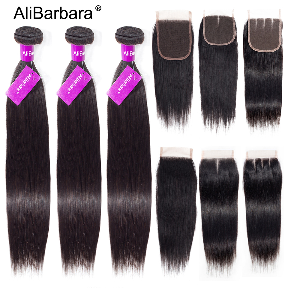 Brazilian Straight Human Hair Bundles With Closure Alibarbara Remy Closure With Bundles 3Bundles And Lace Closure Hair Extension