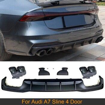 Rear Bumper Diffuser Lip For Audi A7 Sline 4 Door 2019 2020 Non S7 Car Rear Bumper Diffuser Lip Spoiler with Exhaust Tips PP