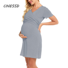 Maternity Dress Casual Solid Nursing Dresses for Pregnant Breastfeeding Women Pregnancy Clothes 2020 Maternity Dress ropa mujer s m l xl maternity dress for photo shoot maxi maternity gown split front maternity chiffon gown sexy maternity photography props