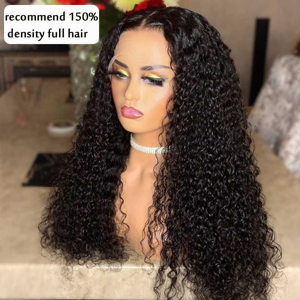 30 cal kręcone ludzkie włosy peruki koronki przednie peruki brazylijski Kinky kręcone zamknięcie peruka 13x4 peruki typu Lace z ludzkich włosów Perruque Cheveux Humain