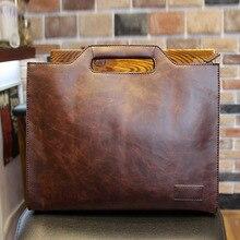 2020 New Men's Handbag Business shoulder bag Crazy horse Leather Tote bag Luxury Messenger Bag Casual Ipad bags Man bolso hombre