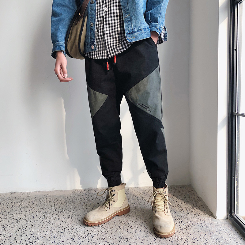 New Style Hong Kong Style Japanese-style Street Loose-Fit Joint Skinny Pants Fashion Man Pants Elastic Harem Casual Pants Versat