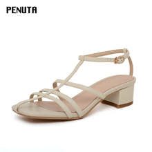 2020 PENUTA Chunky Heel Sandals Genuine Leather Women Gladiator T-Strap Runway Shoes European New Designer Beige X0067