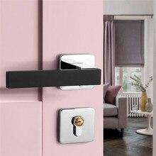 цена на Silver Modern Split Door Lock Set Bedroom Square Interior Door Lock Mute Wooden Door Locks Hardware Handles With Lock Body Keys