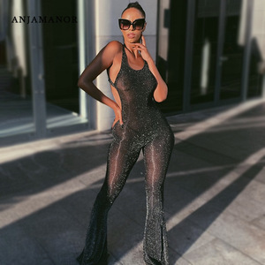 ANJAMANOR Glitter Sheer Mesh Black Sexy Jumpsuits for Women Bell Bottoms Backless Club One Piece Outfit Summer Rompers D85-CZ17