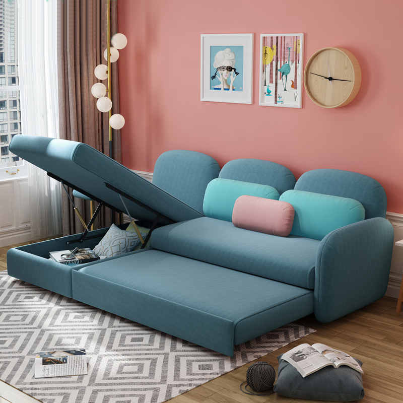 Sofa bed dual-use multi-function folding sofa Nordic ins wind size apartment living room modern sofa image
