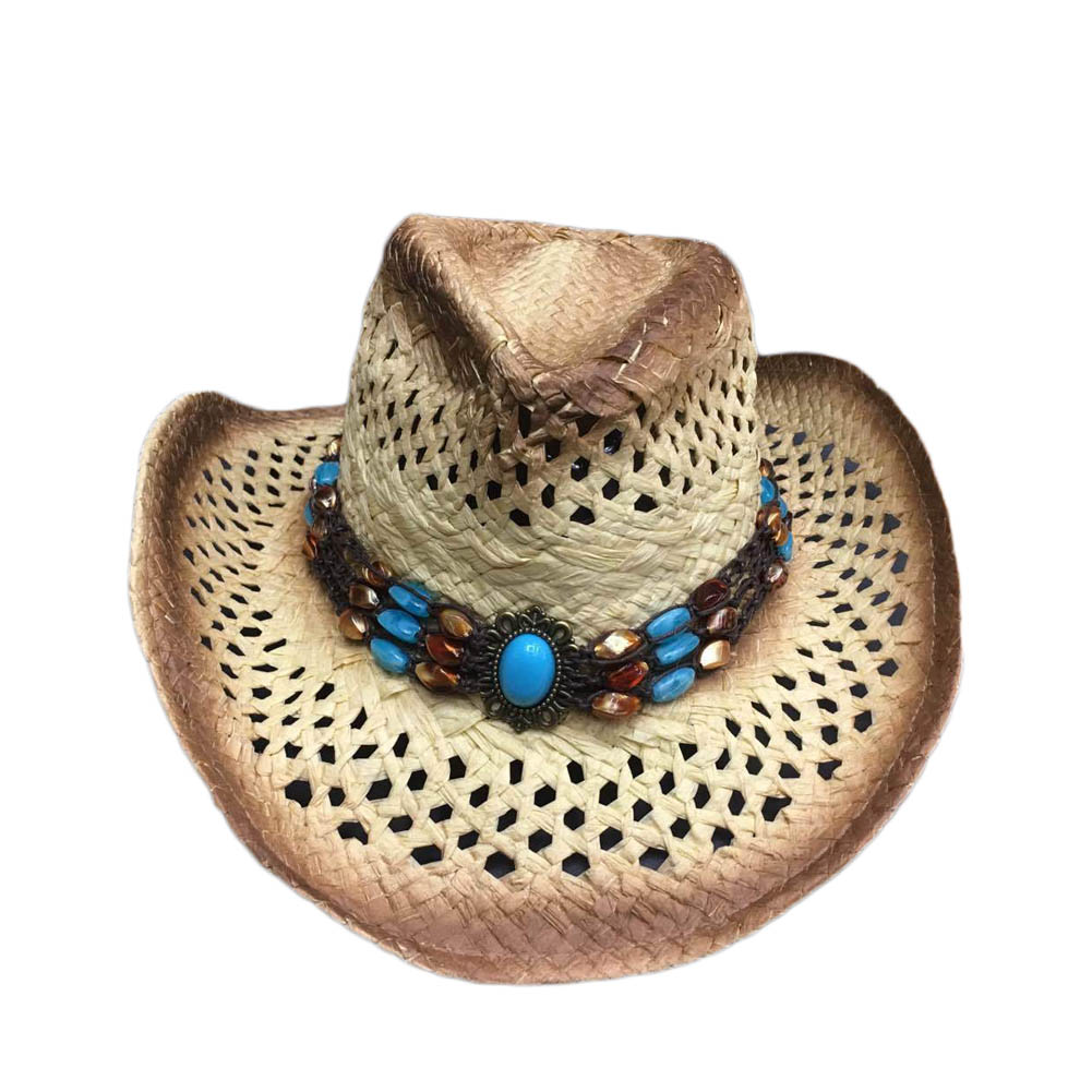 Summer Hat Straw Hat For Women Bead Belt Western Cowboy Hat For Men Lady Trendy Woven Sun Hat Beach Cap