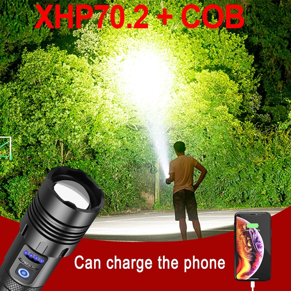 Super lumineux plus puissant lampe de poche torche Xhp70.2 Led lampe de poche tactique 18650 Xhp50 Usb Rechargeable Flash lumière Led lanterne