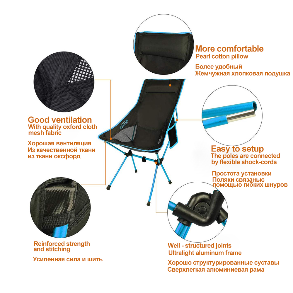Hot DealsHooRu Lounge Beach Chair Fishing Backrest Lightweight Folding Chair Outdoor Portable
