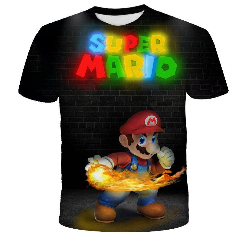 2021 Super Mario Summer 3D Printing Boy Girl Game Cartoon T-shirt Funny T-shirt Clothing Baby Street