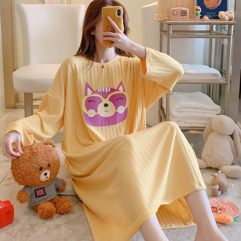 Long Nightgown Women's Spring And Autumn Pure Cotton Large Size Loose-Fit Pregnant Women Pajamas Korean-style Thin-Outer Wear Su
