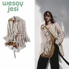 Summer Women Blouse England Style Print Design Fashion sashes full Sleeve Lady
