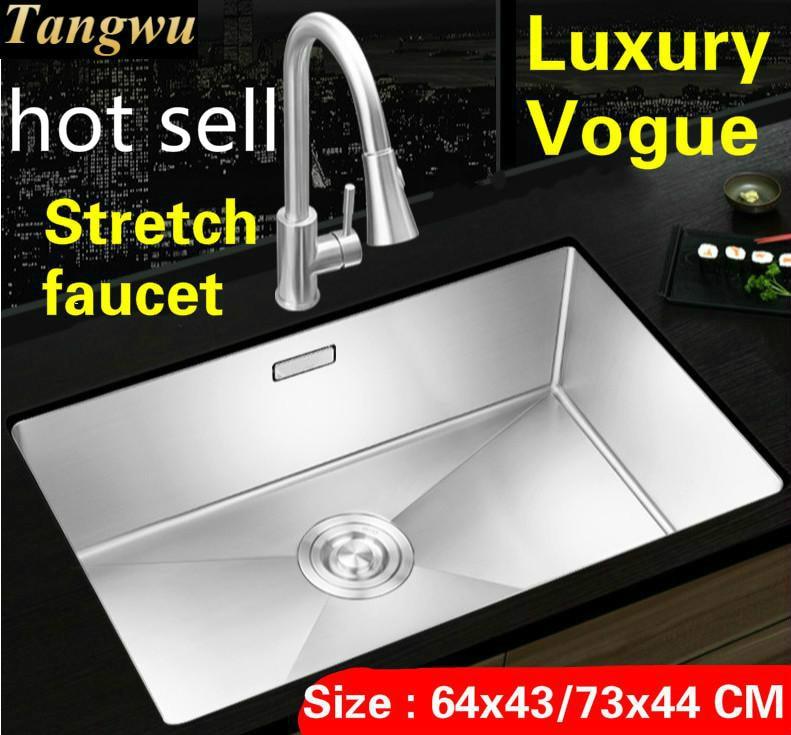 Livraison gratuite appartement vogue cuisine manuel évier simple auge robinet extensible 304 acier inoxydable vente chaude grand 64x43/73x44 CM