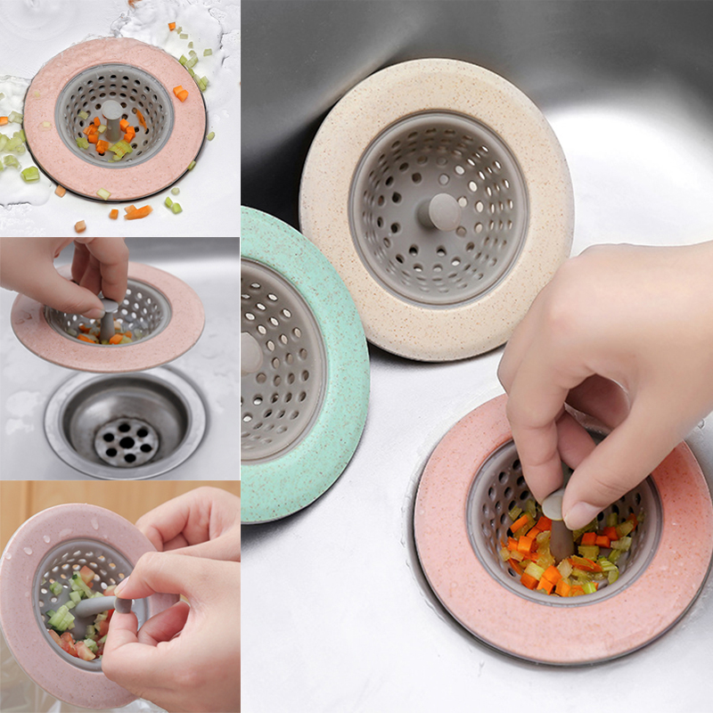 Kitchen Metal Sink Strainer Waste Drain Stopper Filter Silicone Wheat Straw Drains Cover Sewer Hair Filter Filter Waste Collect