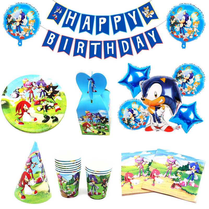 Sonic The Hedgehog Party Supplies Paper Cups Plates Banner Foil Balloon Set Kids Birthday Party Boy Baby Shower Decor