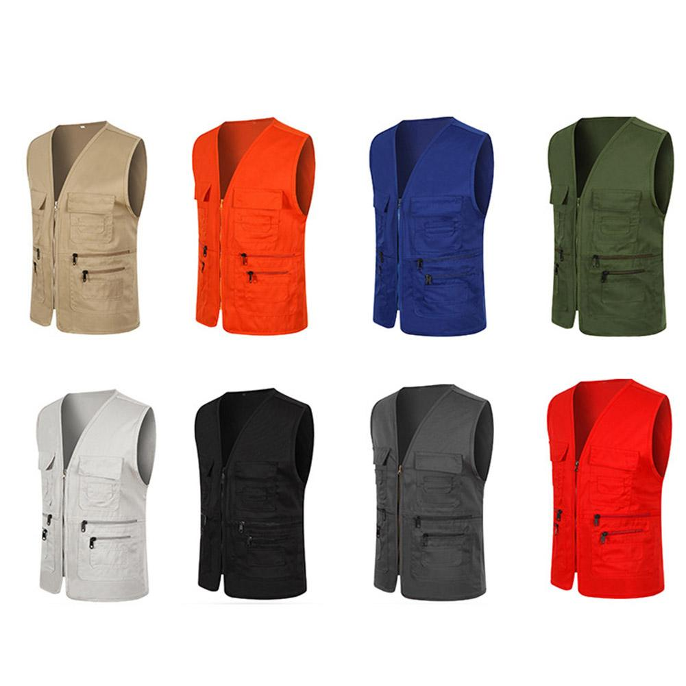 Unisex Multi-Pocket Solid Color Waistcoat Work Fishing Photography Vest Jacket Great For Outdoor Activities Perfect Xmas Gifts
