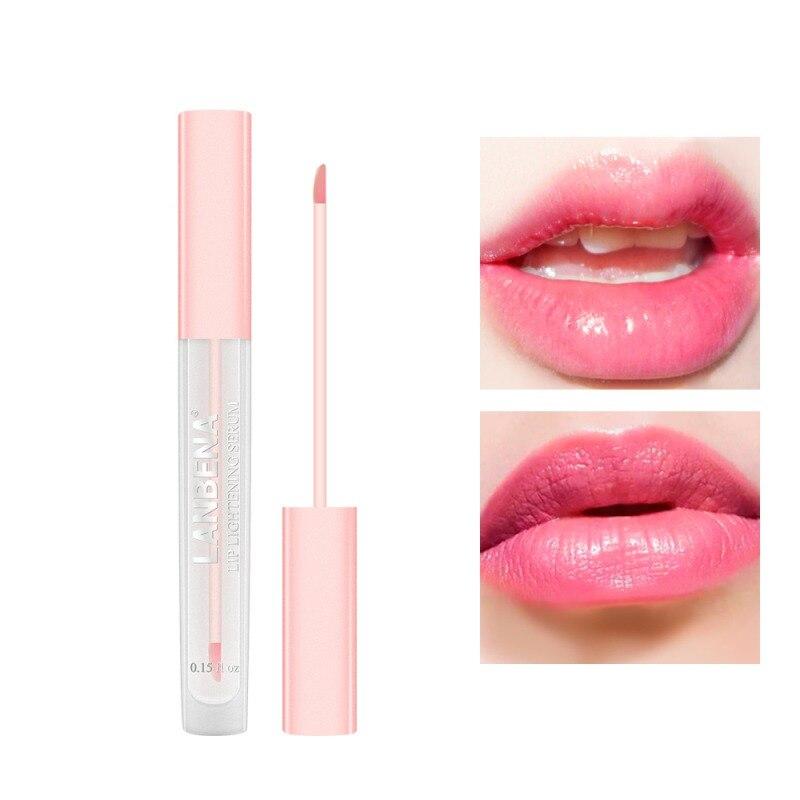 Косметическая осветляющая сыворотка для губ, жидкий блеск для губ, уменьшающий пигментацию, увлажняющий розовый блеск для губ, стойкий Глад...