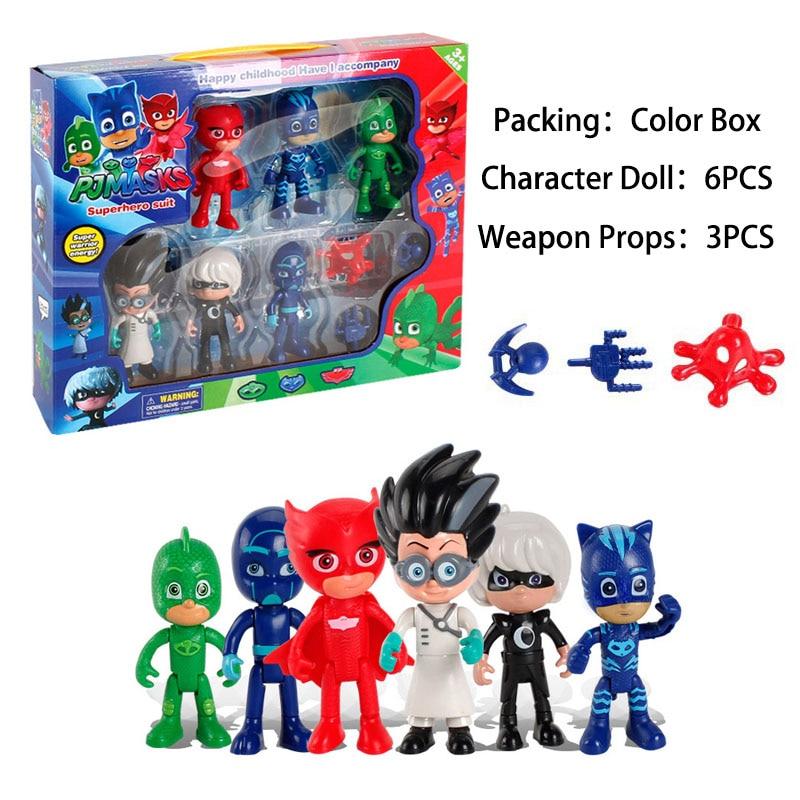 9pcs/set Pj Masks Cartoon Anime Figures Pj 2018 Character Catboy Owlette Gekko Pj Mask Toys For Children Girls Boys Gift S07