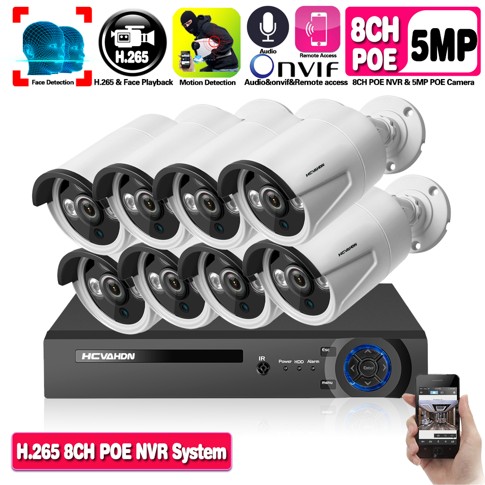 Face Detection H.265 POE 5MP Video Surveillance Kit 8CH NVR CCTV System 5 Megapixels Weatherproof CCTV Security POE IP Camera