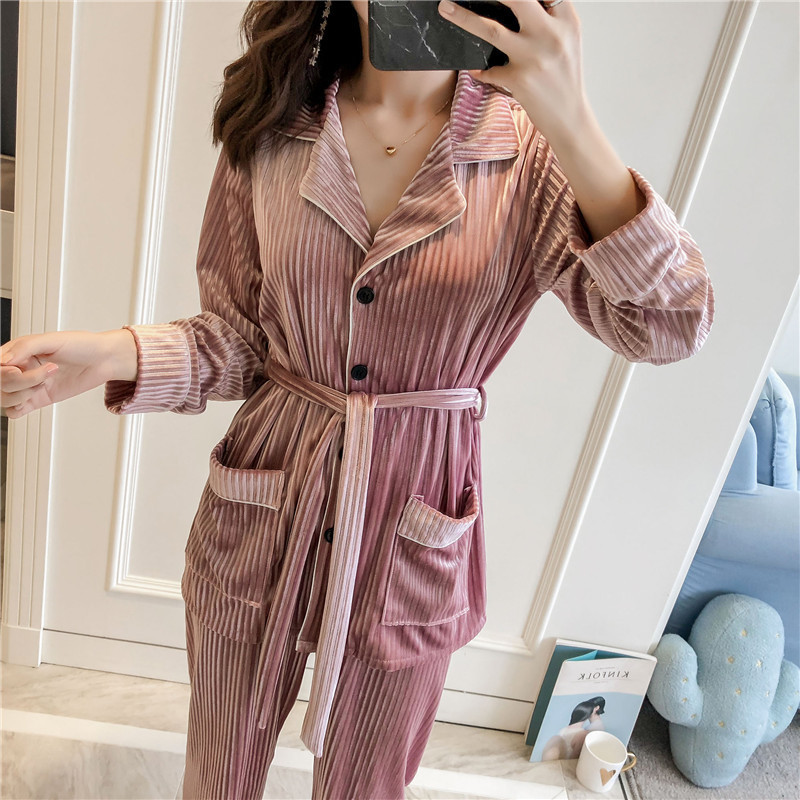 Winter New Gold Velvet Women Pajama Set Thicken Keep Warm Pyjamas Set With Belt Slim Sleepwear