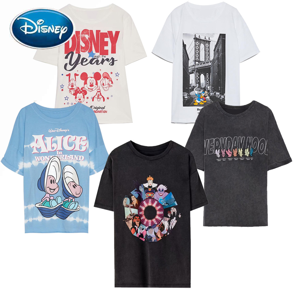 Disney Family Mickey Mouse Snow White The Evil Queen Witch The Lion King Cartoon Print Women T-Shirt O-Neck Short Sleeve Tee Top