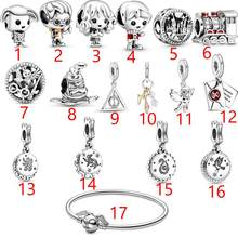 2020 Горячая натуральная 925 пробы серебро Гарри, Очаровательные бусы, подходят к оригинальным браслетам Pandora, брелоки, тонкой Серебряные ювели...