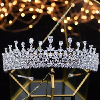 New Fashion Luxury Big Crown Bridal Wedding Tiaras Gorgeous Crystal Large Round Queen Crown Wedding Hair Accessories