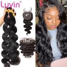 Luvin 30 40-дюймовые бразильские человеческие волосы, волнистые, свободные, 3 4 пряди, с 13x4 кружевными фронтальными 5x5 HD прозрачными закрытиями