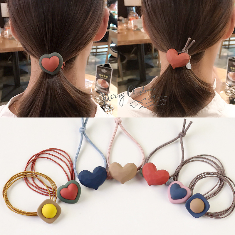 New Scrub Heart Square Rubber Hair Ties Rope For Women Girls Ponytail Holder Hairband Cute Elastic Hair Bands Hair Accessories