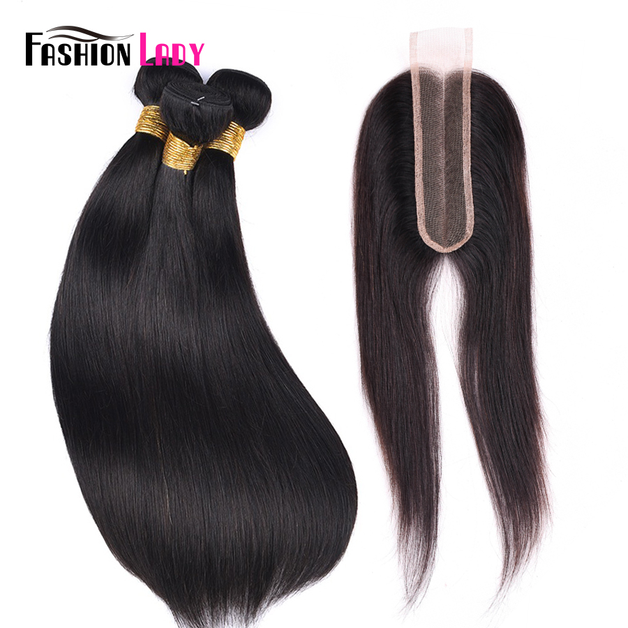 FASHION LADY Brazilian Straight Hair Weave 100% Human Hair 3 Bundles With 2x6 Inch Lace Closure Middle Part 1b# Non-Remy