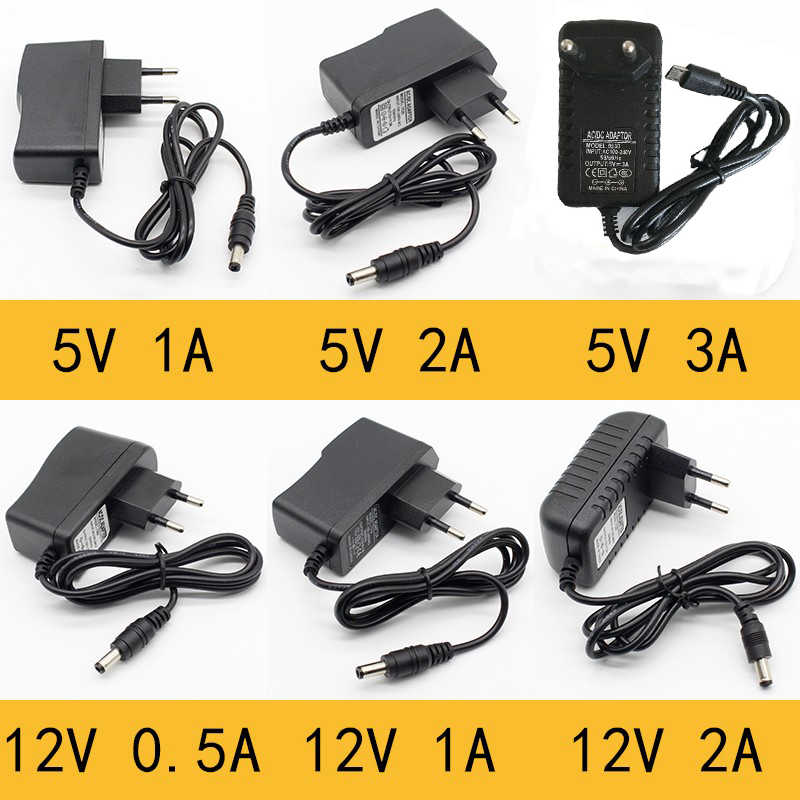 1 Buah 100-240V AC Ke DC Power Adapter Supply Charger Adapter 5V 12V 1A 2A 0.5A Uni Eropa US UK Auplug 5.5 Mm X 2.5mm5v3aDC Plug Micro USB