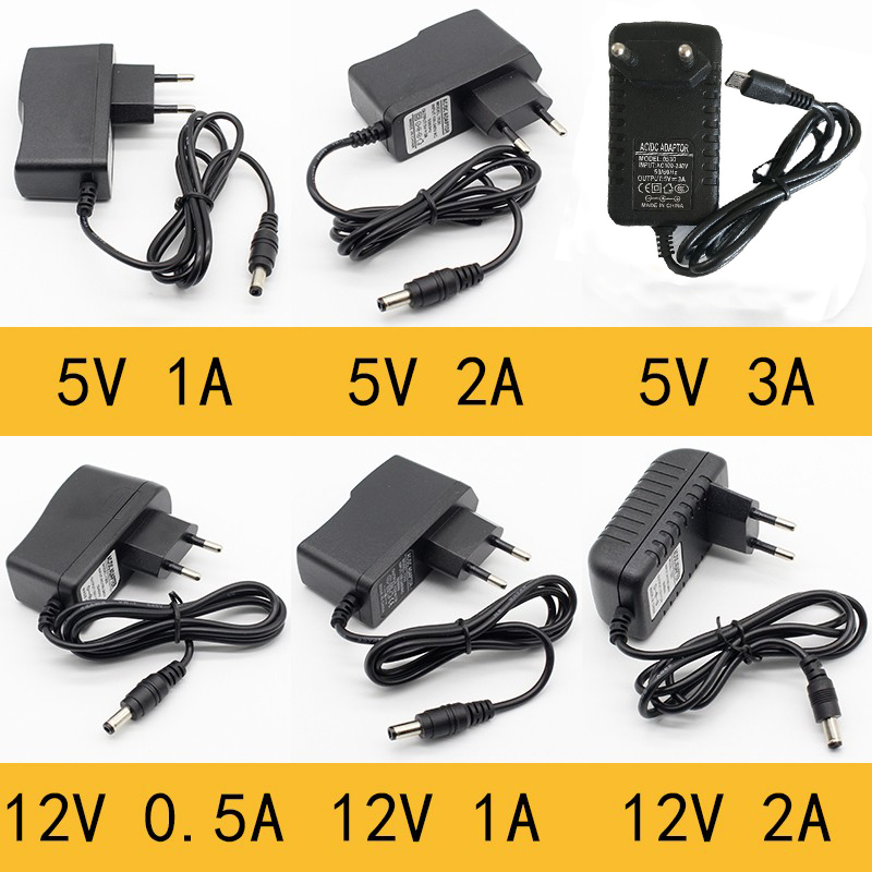 1pcs 100-240V AC To DC Power Adapter Supply Charger Adapter 5V 12V 1A 2A 0.5A EU US UK AUPlug 5.5mm X 2.5mm5v3aDC Plug Micro USB